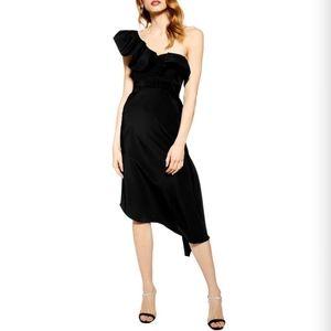 Topshop one shoulder black dress size 10